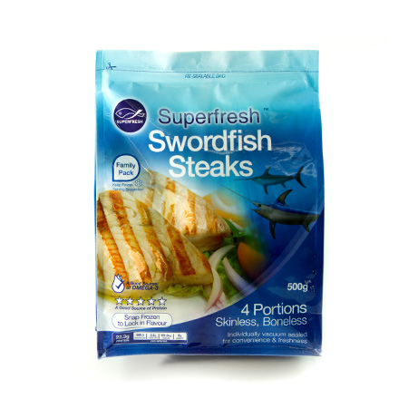 Retail Ready Pouches - SuperFresh Swordfish Steaks